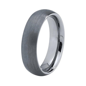 Classic Domed Shape Silver Brushed Coated Tungsten Band - Innovato Store