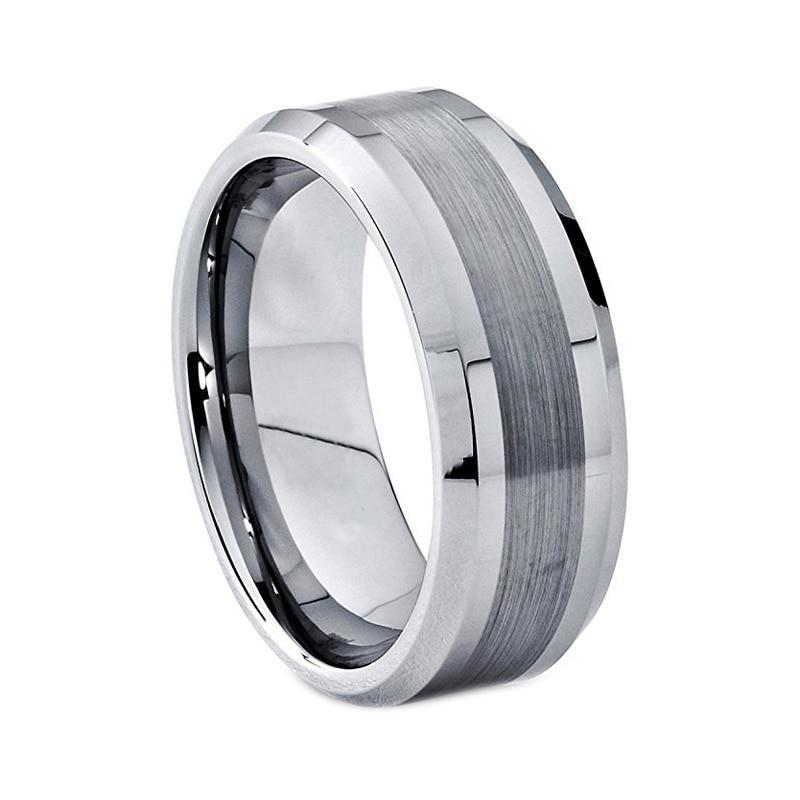 8mm Silver Classic Beveled Brushed Matte Tungsten Carbide Ring - Innovato Store