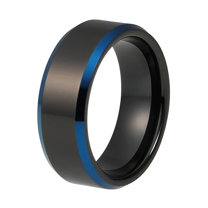 8mm Men's Black Polished Tungsten Carbide Blue Plated Beveled Edges Wedding Band - Innovato Store