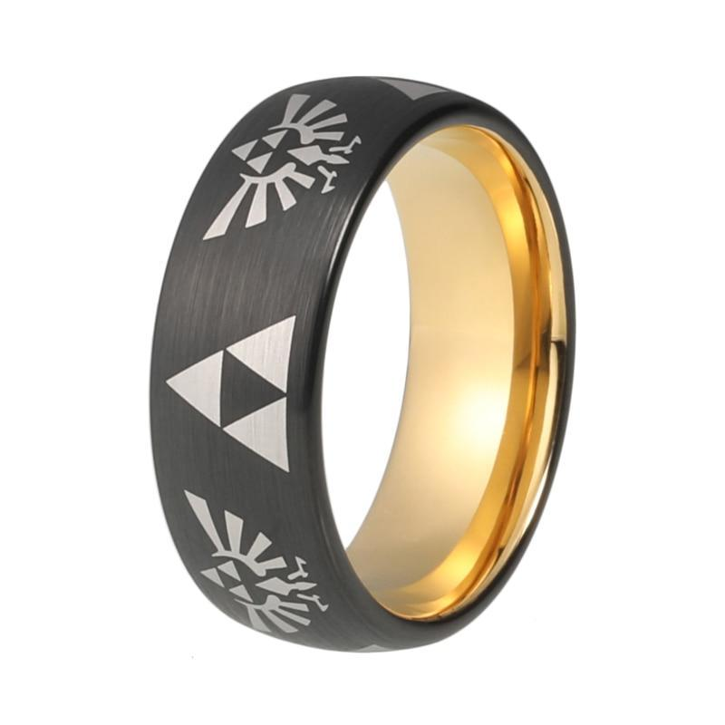 Gold Plated Tungsten Carbide Ring with South American Symbols - Innovato Store