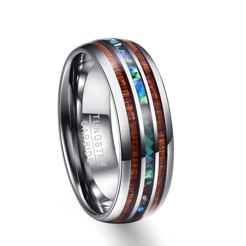 8mm Hawaiian Koa Wood and Abalone Shell Insert Tungsten Carbide Ring - Innovato Store