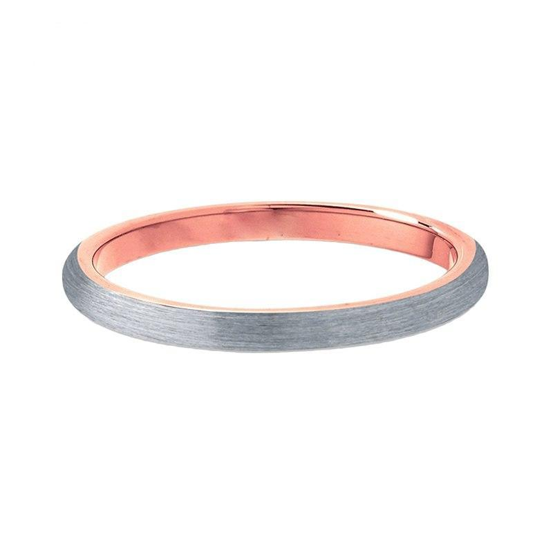 Satin Brushed Matte Silver Coated Tungsten Carbide with Soft Rose Color Finish Engagement Ring
