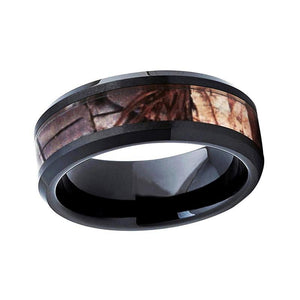 8mm Black Ceramic Beveled Edges Ring with Carbon Fiber Inlay - Innovato Store