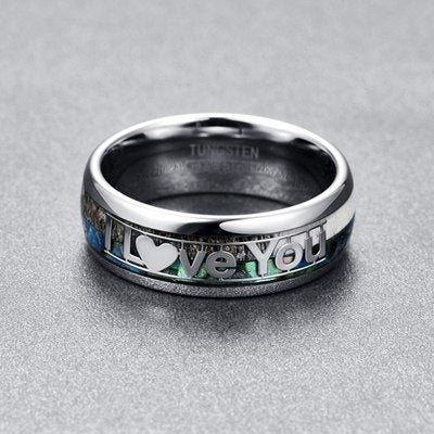 "Dual Inlay with the ""I Love You"" Character Tungsten Carbide Ring - Innovato Store"