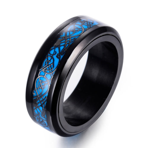 Glow in The Dark Spinner Ring with Dragon Inlay and Blue Light Tungsten Carbide Ring - Innovato Store