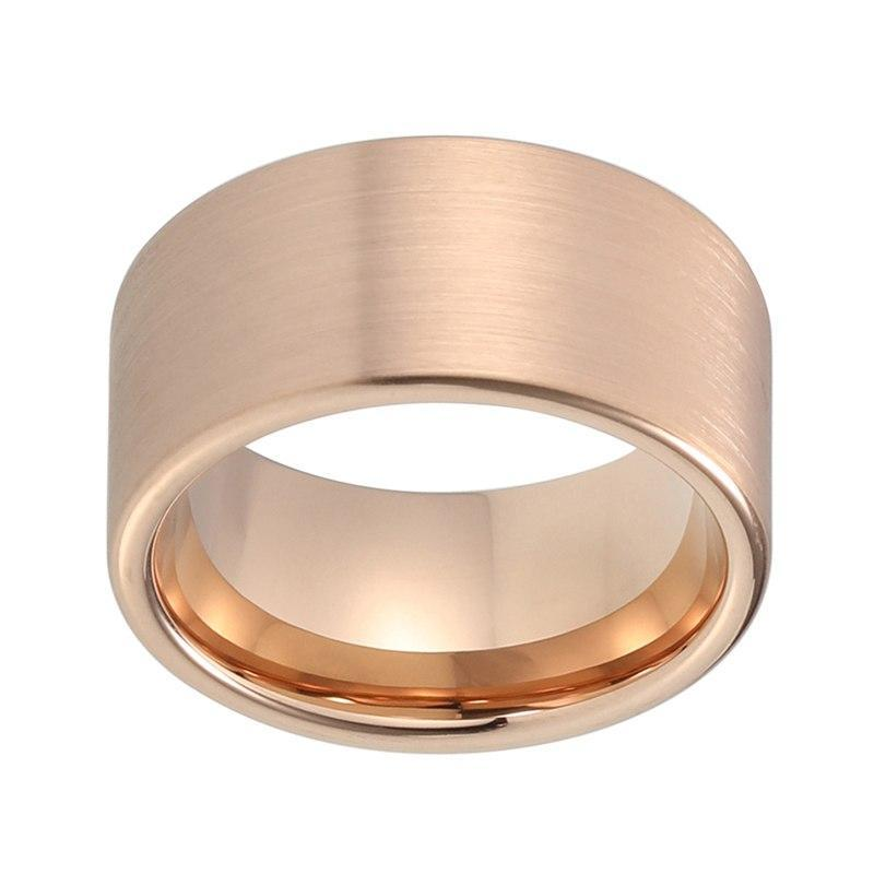 12mm Large Pipe Cut Rose Gold Plated Tungsten Carbide Ceremonial Ring - Innovato Store