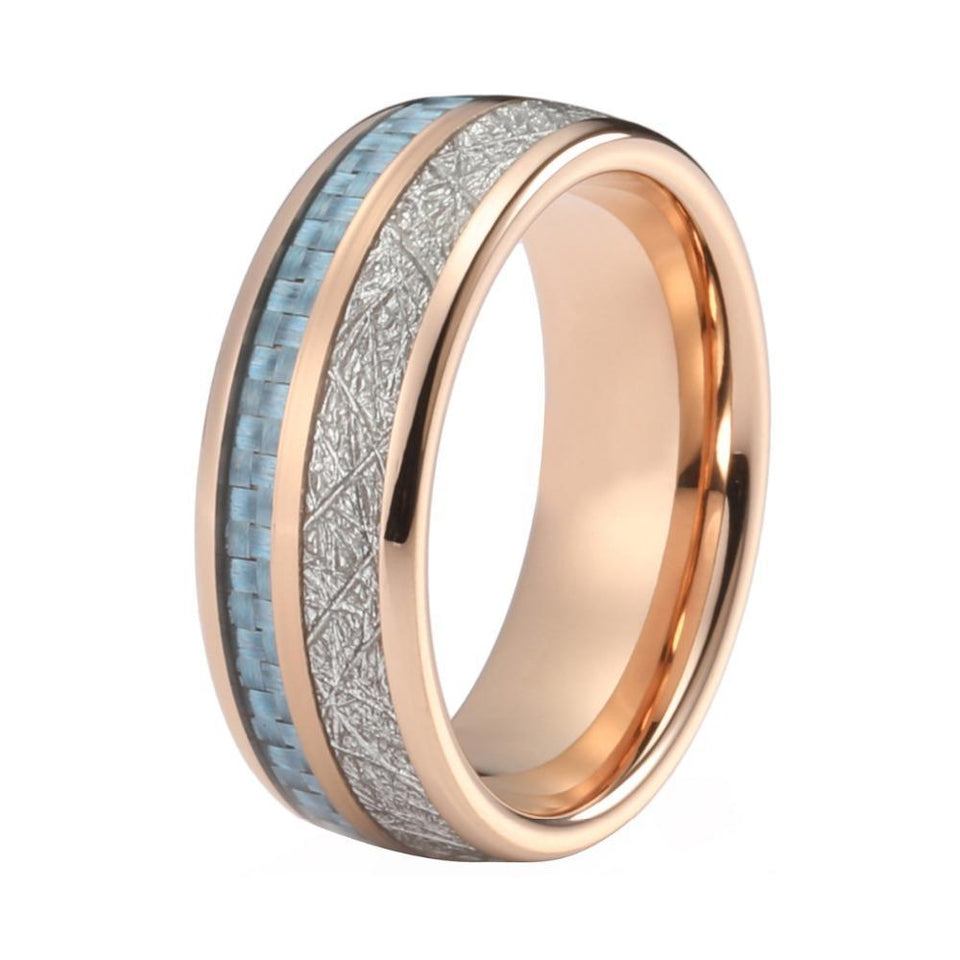 Unisex Rose Gold-Coated, Blue Carbon Fiber and Meteorite Inlay Wedding Band