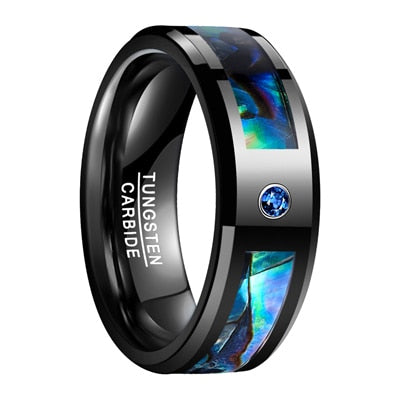 Natural Abalone Shell Tungsten Steel with Electroplated Black Cubic Zirconia Ring - Innovato Store