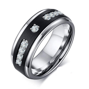 Stainless Steel Ring with Black Tungsten Carbide with CZ Stone Wedding Ring