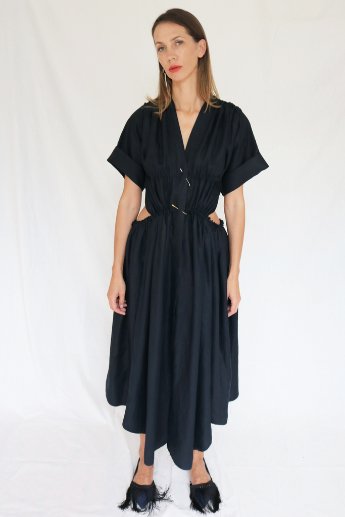 Gathered linen dress with cutout detail