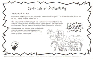 Rugrats Limited Edition Sericel Animation Art Nickelodeon Seal and COA 1990's