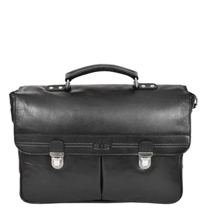 Mens Leather Briefcase Cross Body Satchel Bag Clinton Black front