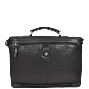 Mens Leather Briefcase Cross Body Satchel Bag Clinton Black back