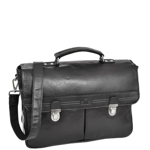 Mens Leather Briefcase Cross Body Satchel Bag Clinton Black