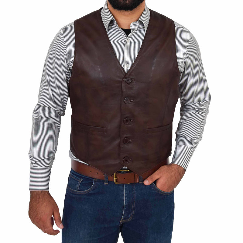 mens brown leather waistcoat