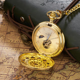 Vintage Mechanical Moon Pocket Fob Watch Gold With Chain Retro Skeleton Mens Steampunk Mechanical Clock Necklace Pendant Watch