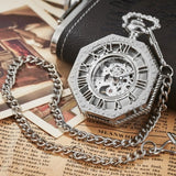 Polygon Hollow Retro Mechanical Pocket Watch Chain Skeleton Luxury Hand Winding Metal Fob Clock Relogio De Bolso Gifts For Men