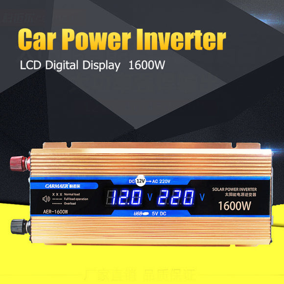 Car Power Inverter 1600W DC 12 V to AC 220 Volt LCD Digital Auto Adapter Converter Modified Sine Charger Voltage Transformer