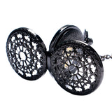 Men's Gift Black Steampunk Double Hunter Mechanical Pocket Watch Vintage Retro