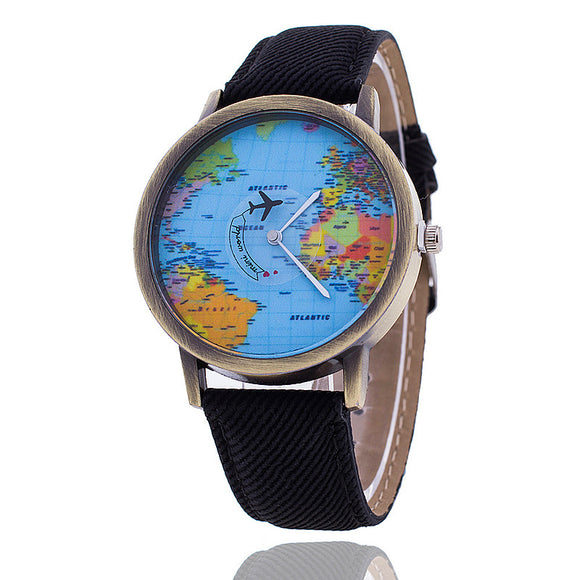 Fashion Global World Map Plane Denim Fabric Band Watch Casual Women Wristwatches Quartz Watch Relogio Feminino Gift