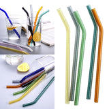 1 Set 10 Colors Glass Birthday Party Drinking Straws Bent Wedding Glass Cocktail  8*180mm Juice with Cleaner Brush Kit