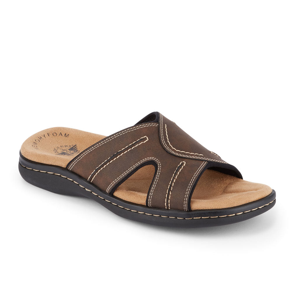 Dark Brown-Dockers Mens Sunland Casual Comfort Outdoor Slip-on Slide Sandal Shoe