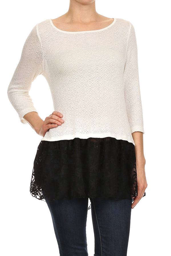 Ruffle Hem Knit Top in Black and White
