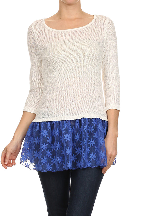 Ruffle Hem Knit Top in Blue and White