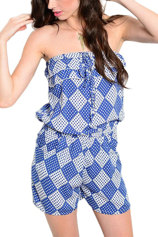 Drawstring Romper in Royal Blue and White