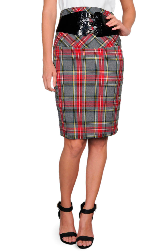 Midi Belted Pencil Skirt in Plaid