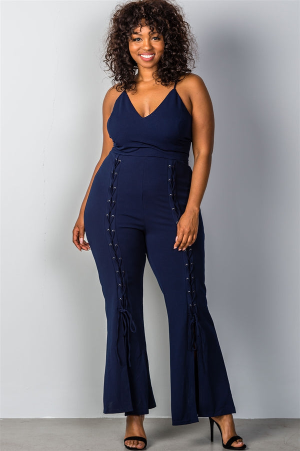 Plus Size Lace-Up Bell Bottom Leg Jumpsuit in Navy