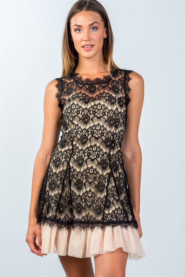Ultra Lacy Tulle-Hem Dress in Black and Nude