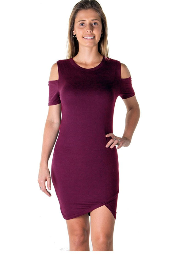 Cold Shoulder Dress in Burgundy