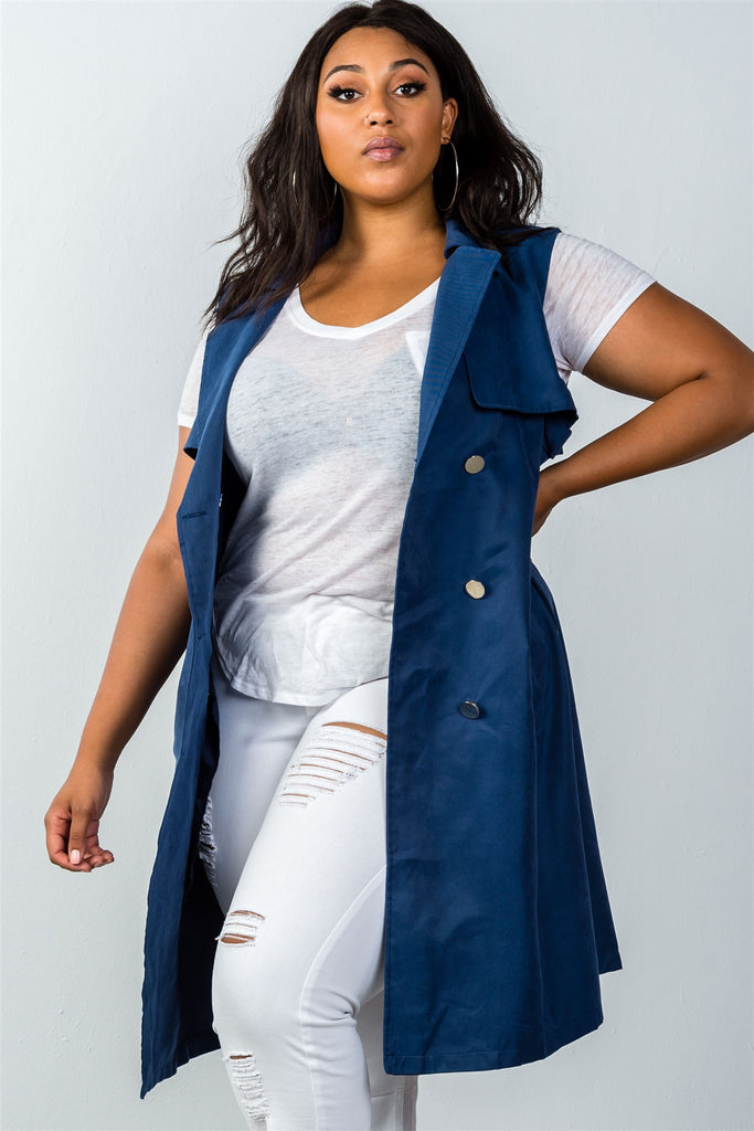 Plus Size Double Breasted Belted Vest