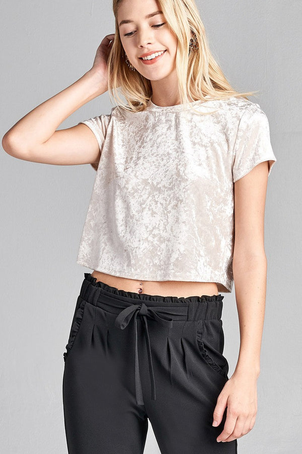 Velvet Crop Top in Cream