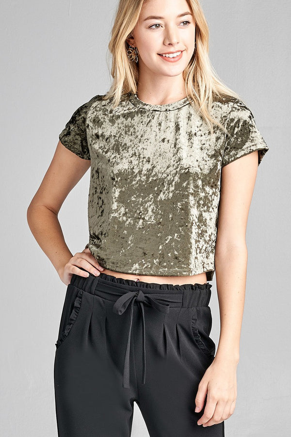 Velvet Crop Top in Olive
