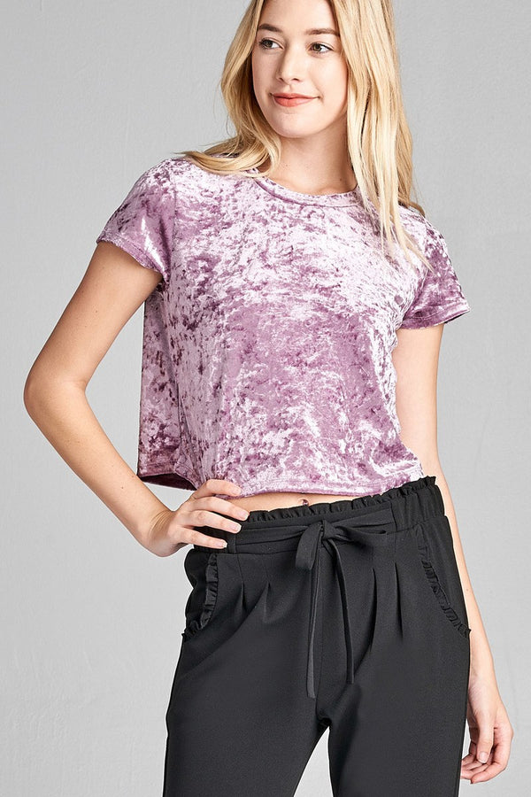 Velvet Crop Top in Lilac