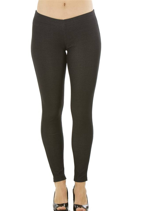 Stretchy Cotton Blend Leggings in Black