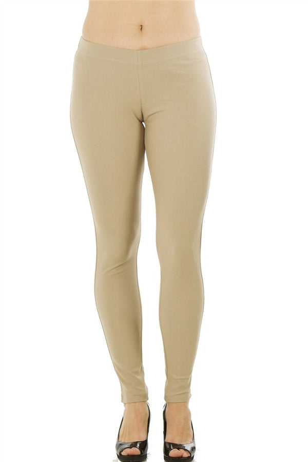 Stretchy Cotton Blend Leggings in Khaki