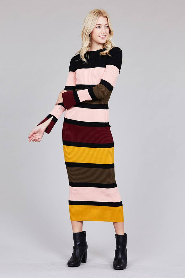 Long Sleeve Color Block Maxi Dress in Pink and Olive