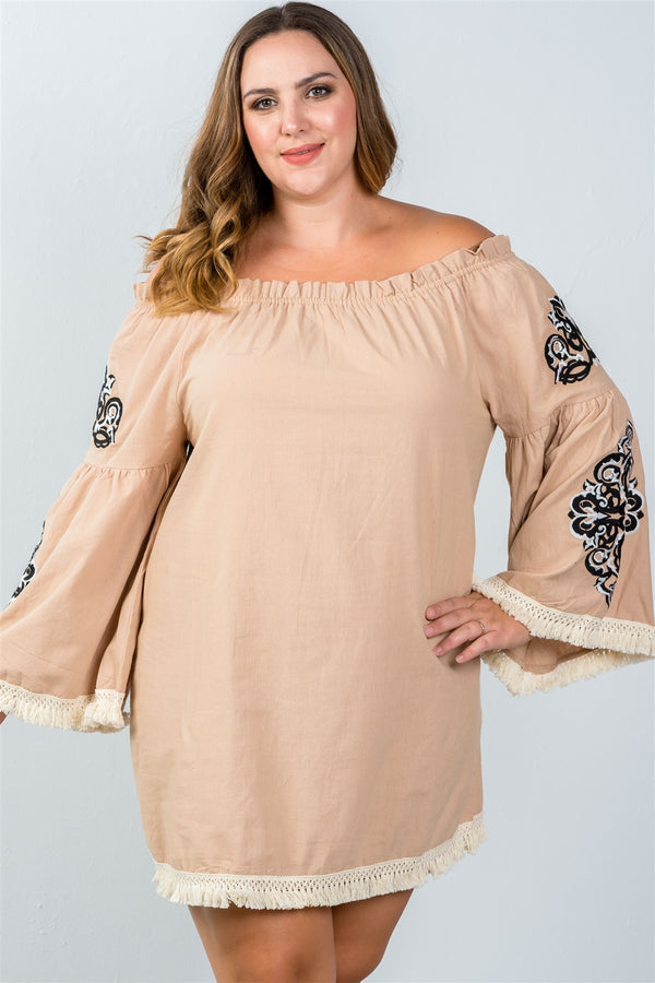Plus Size Floral Bell Sleeve Shift Dress in Mocha