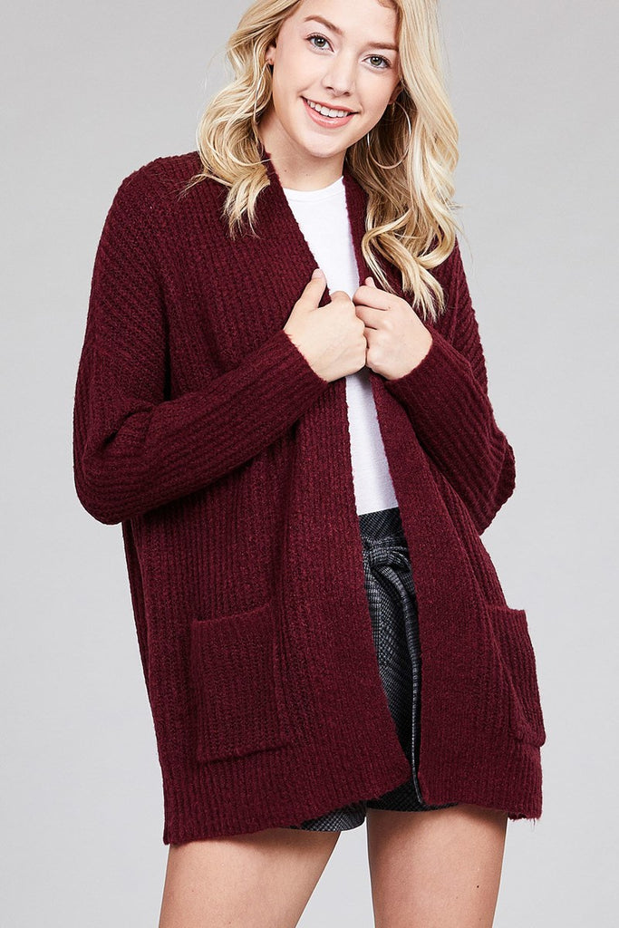 Open Front Dolman Sleeve Cardigan in Burgundy