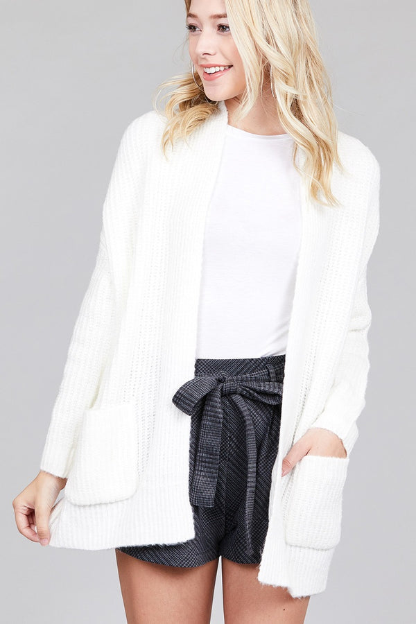 Open Front Dolman Sleeve Cardigan in White