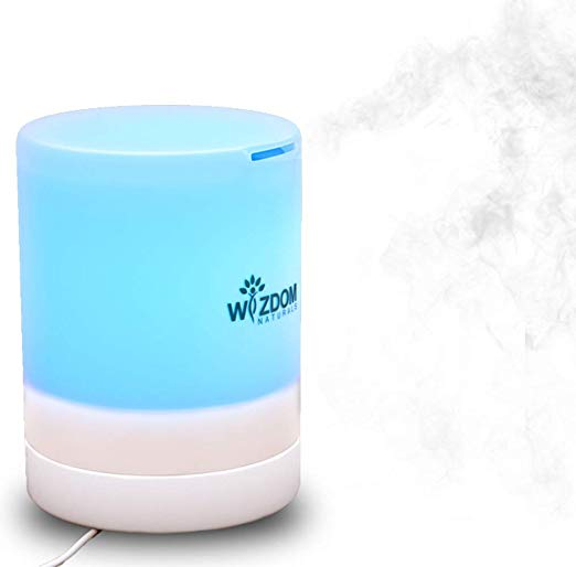 Wizdom Naturals 300-mL Humidifying Essential Oil Diffuser - Durable Aroma Therapy Infuser & Nightlight with Timers & Auto Shutoff - Healthy Living Solutions for Your Home, Office, Desk, Spa, Yoga