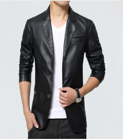 Black Faux Leather 3 Buttoned Coat for Men