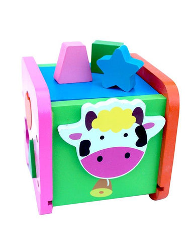 Wooden Shapes Sorter Cattle Box