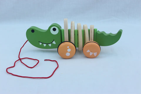Wooden Crocodile Pull Cart For kids