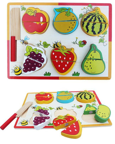 Wooden Fruits Cutting Learning Board For Kids