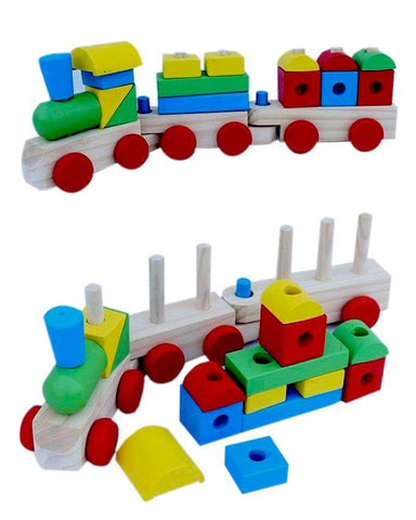 Classic Wooden Stacking Train For kids