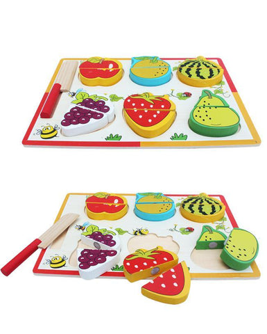 Wooden Vegetables Cutting Learning Board For Kids